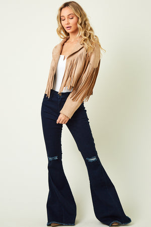 """Ole Fringe Benefits"" Light Sandy Beige Suede Fringe Jacket"