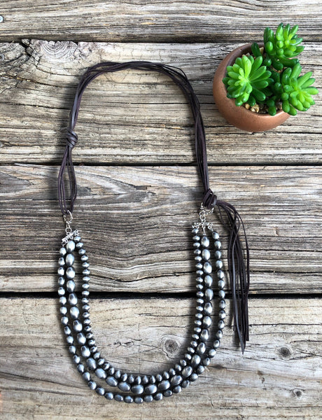 """Ole Aberdeen"" Navajo Pearl & Leather Tassel Bib Style Necklace"