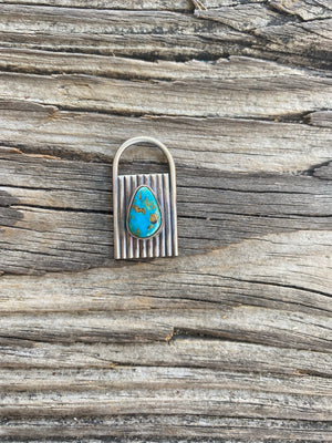 """Ole Love Lockdown"" Stone & Sterling Silver Lock Pendants"