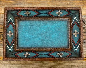 """Ole Canyonlands"" Southwestern Cross Pattern Turquoise Blue Mix Coffee Table/Ottoman Tray"