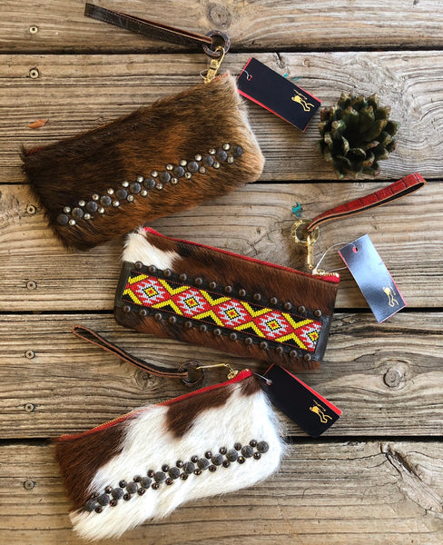 KurtMen Hair on Hide Embellished Leather Wristlet  Clutches &/or Wallets