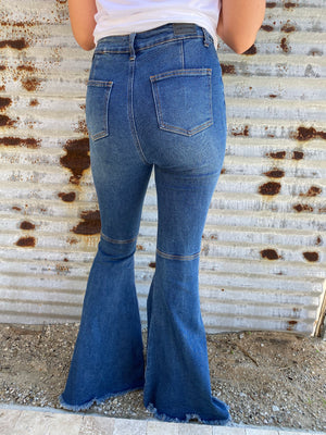 """Ole Raggedy Annie"" Distressed DARK BLUE Denim Bell Bottom Jeans"