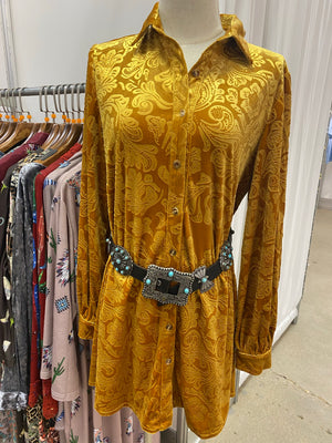 """Ole Golden Gal"" Spicy Golden Mustard Burnout Floral Velvet Button Up Mini Shirt Dress &/or Tunic Top"