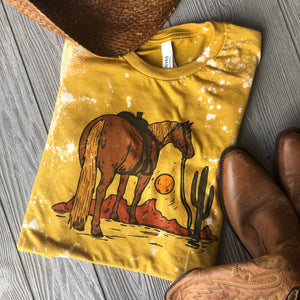 """Ole Great Wide Open"" Desert Sunrise Mustard Tie Dye Graphic Tee"