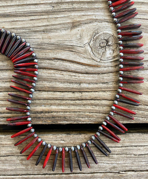 """Ole Fan Gurl"" Spike Red Spiny Oyster Stone & Navajo Pearl Layering Necklace"