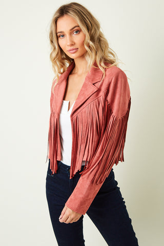 """Ole Fringe Benefits"" Brick Red Clay Suede Fringe Jacket ~ PREORDER 9/30"