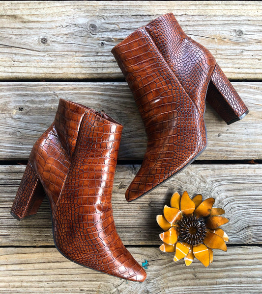 """Ole After While Crocodile"" Coppery Cognac Brown Croco Booties"