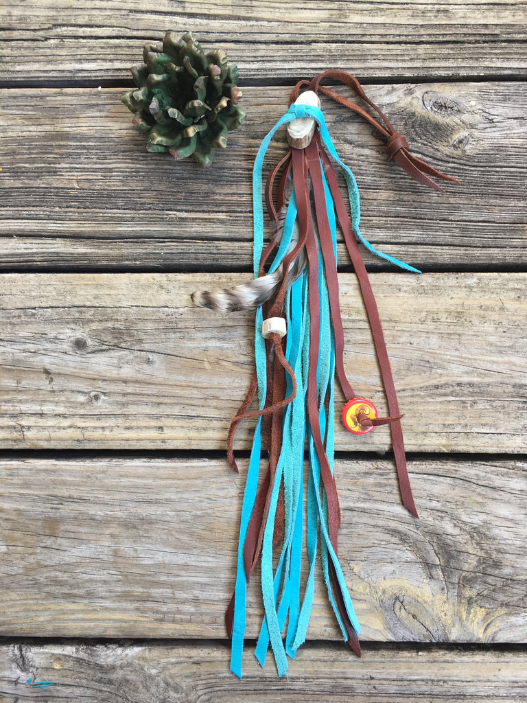 McIntire Saddlery Feather & Antler Multicolor Leather Fringe Purse Tassels