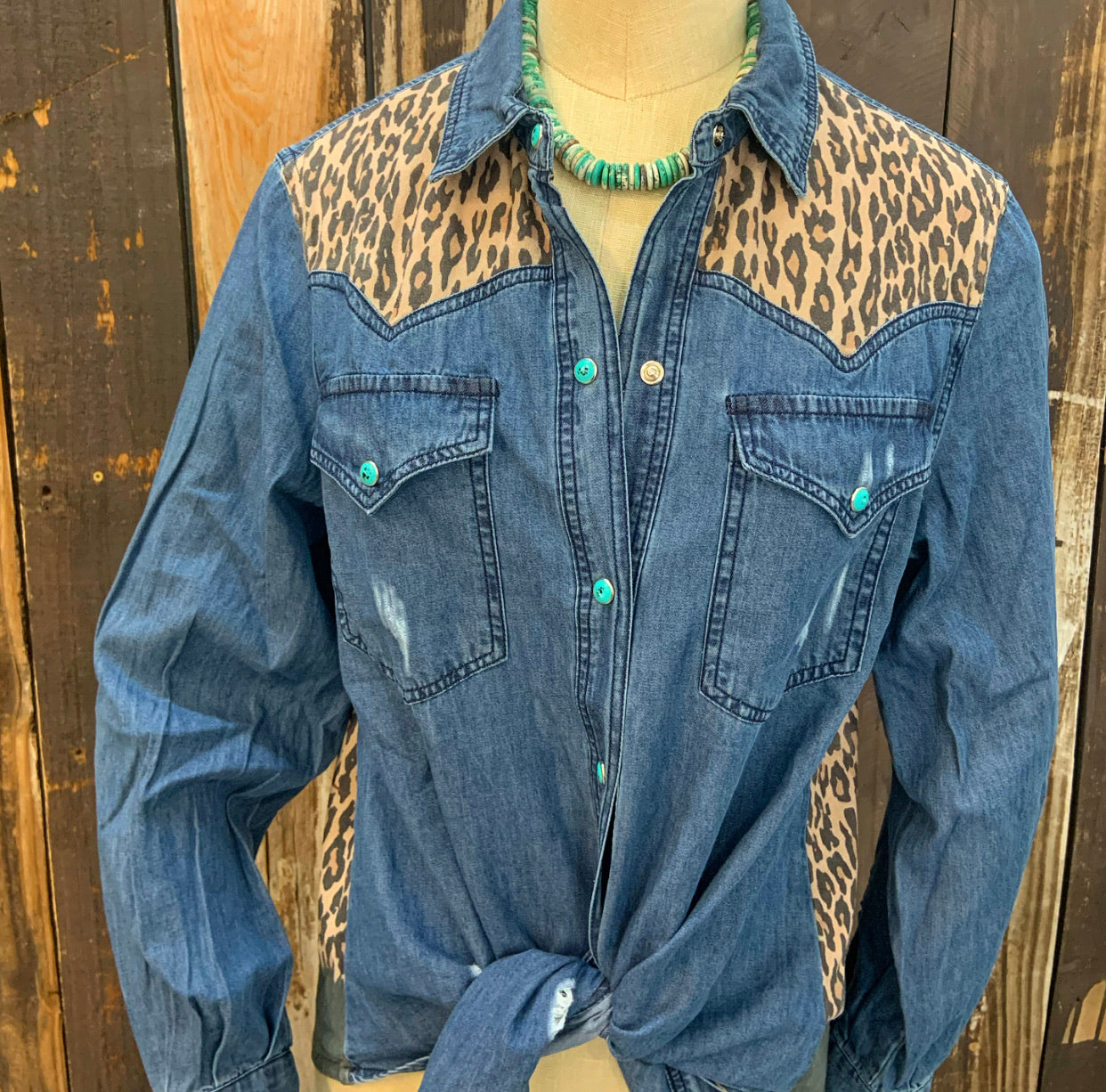 """Ole Corner of Winslow"" Cactus Sunset LEOPARD PRINT Suede Panel Turquoise Stone Snap Up Denim Shirt"