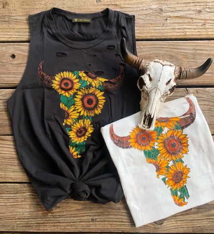 """Ole Sunflower Bessy"" Distressed Sunflower Bullhead Skull Graphic Tank"