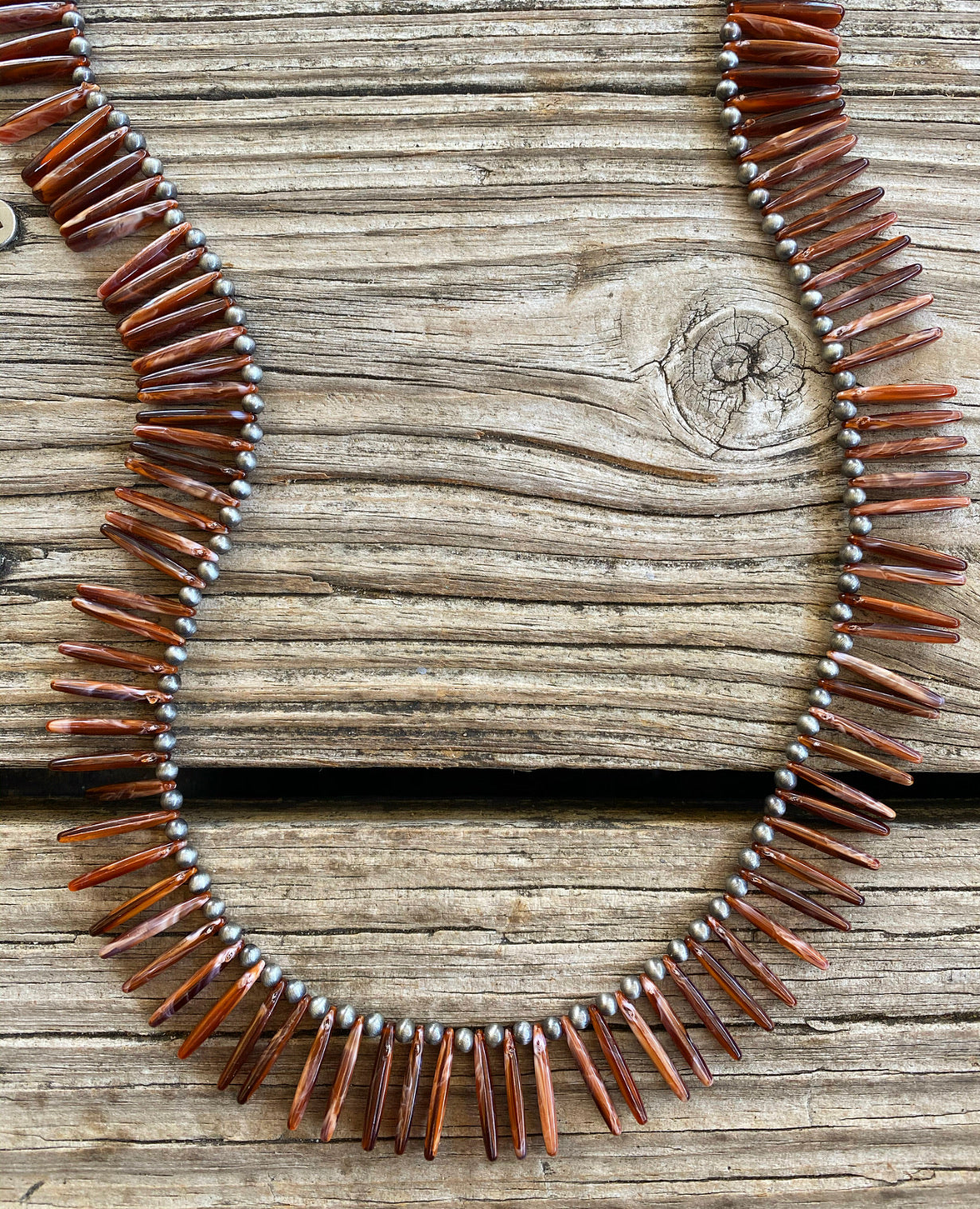 """Ole Fan Gurl"" Spike Brown Spiny Oyster Stone & Navajo Pearl Layering Necklace"
