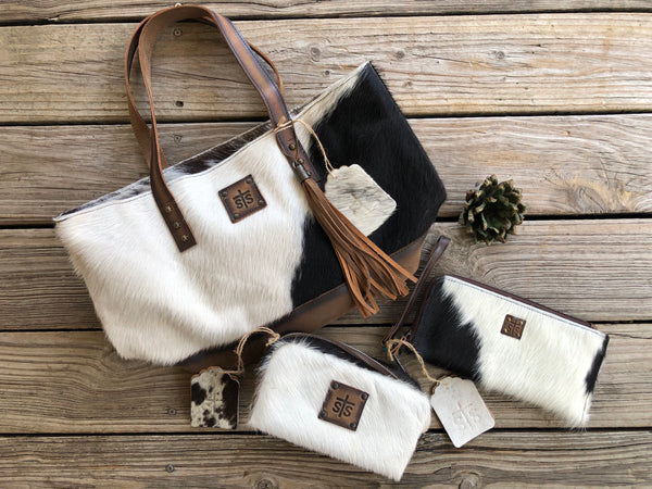 sTs Ranchwear 3 Piece Leather & Cowhide Purse, Clutch/Wallet & Make Up Bag Set #3