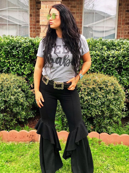 """Lil Miss Round Up"" Black Ruffle Bell Bottoms"
