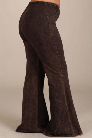 Brown Mineral Washed Bell Bottom Pants