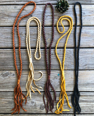 """Ole Ranchester"" Braided Buckskin Leather Lariat Style Tassel Necklace ~ Extra Long"