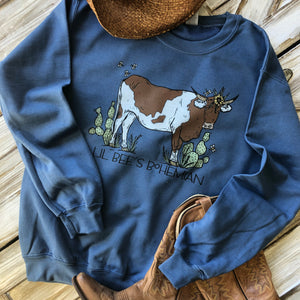 """Ole Cattle Call"" Brown & White Spotted Cow Sweatshirts"