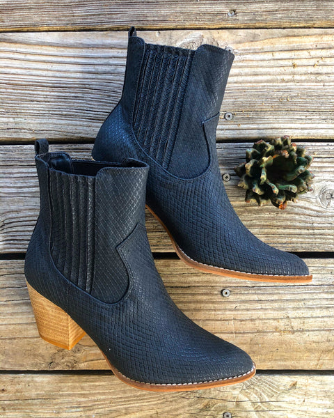 """Ole Serendipity"" Black Textured Snakeskin Wood Heel Booties"