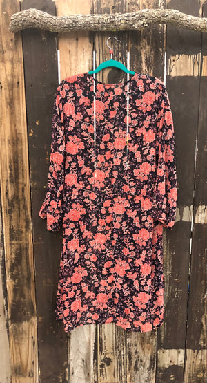 Navy & Red Floral Print  Duster/Cardigan ~ Size Medium ~ Queen Bee's Closet