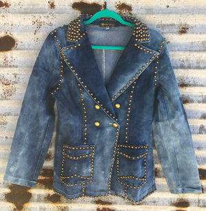 """Ole Stud Finder"" Acid Washed BLUE Denim Brass Studded Blazer"