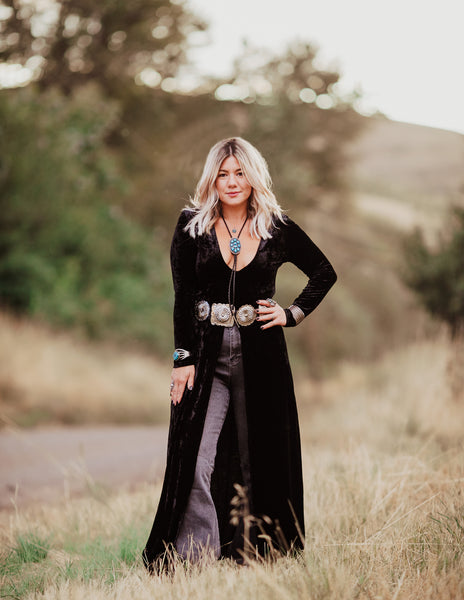 """Ole Midnight Train To Georgia"" BLACK Crushed Velvet Slit Front Maxi Top"