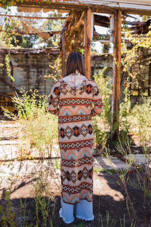 """Ole Texcoco"" Earthy Aztec Hooded Duster Cardigan"