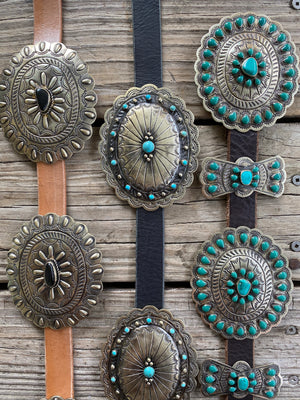 Authentic Turquoise & Black Onyx Etched Silver Concho Leather Belts