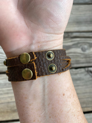 """Ole Pebbled Beach"" Brass Stud Braided Leather Snap Cuff Bracelet"