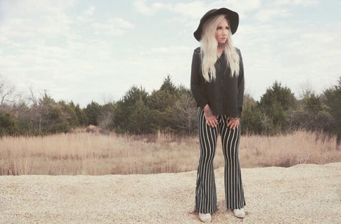 """Ole Majorette"" Black & White Stripe Bell Bottoms"