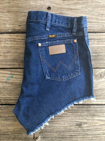 "Wrangler ""Reworked"" Dark Wash Cut Off Jean Shorts ~ Size 32"
