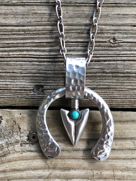"""Ole Silver City"" Pounded Silver Arrow Head Squash Blossom Chain Strand Necklace"