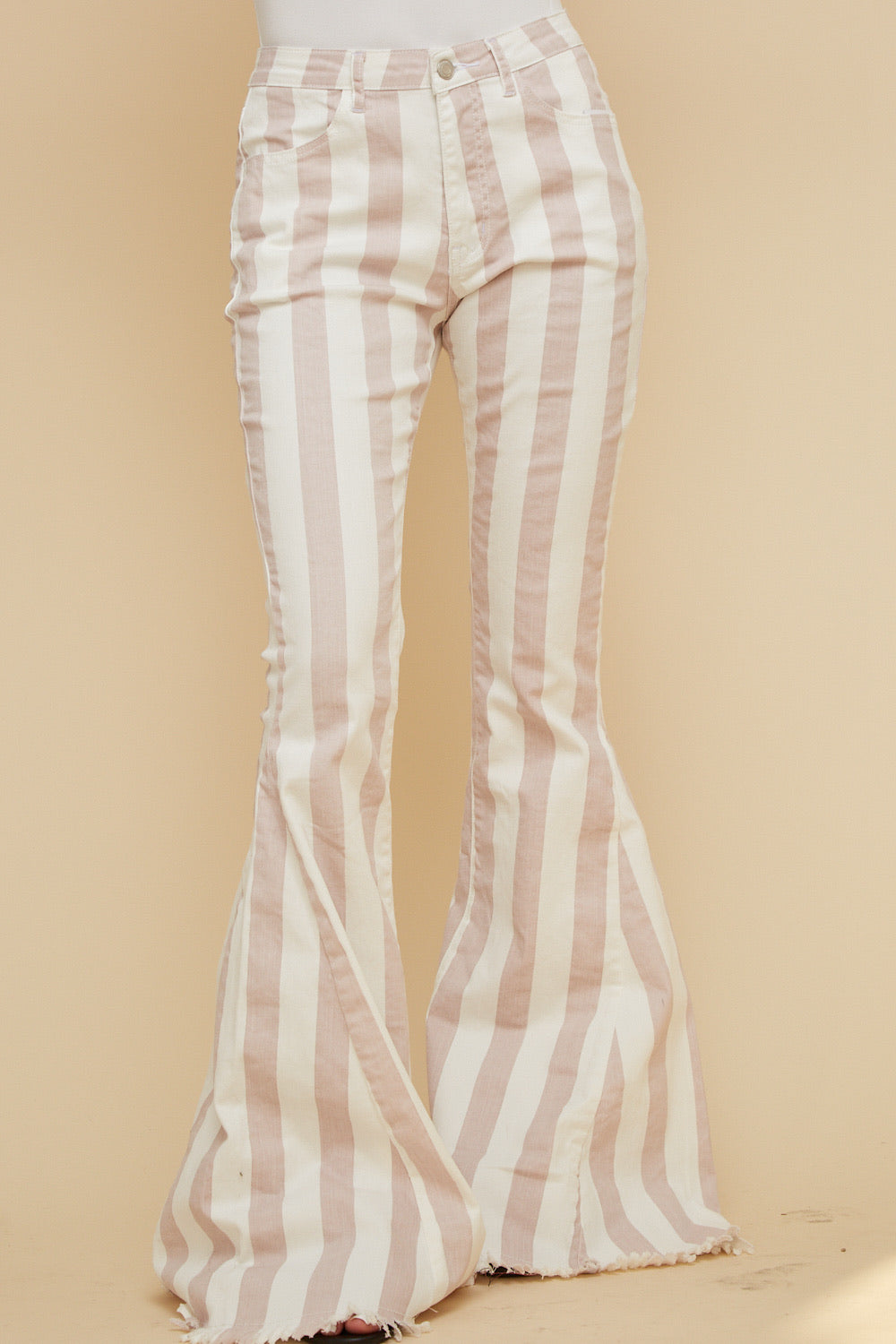"""Ole Make You Blush"" Baby Pink & White Striped Denim Bell Bottoms"