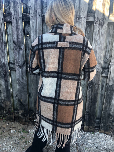 """Ole Cedar Canyon"" Fuzzy Fringe Trim Wool Jumbo Plaid Blanket Coat"