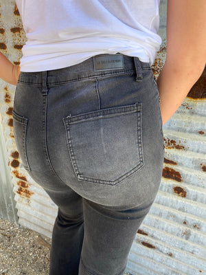 """Ole Raggedy Annie"" Distressed BLACK Denim Bell Bottom Jeans"