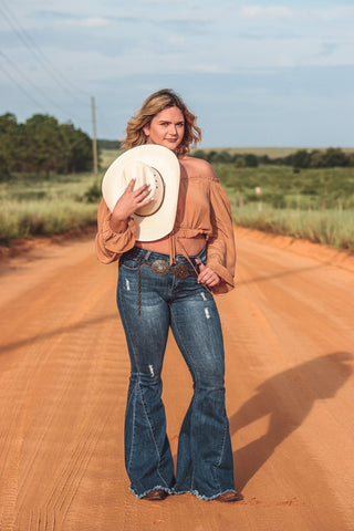 """Ole Highway Queen"" Distressed DARK BLUE Denim Bell Bottom Jeans ~ 35 Inseam"