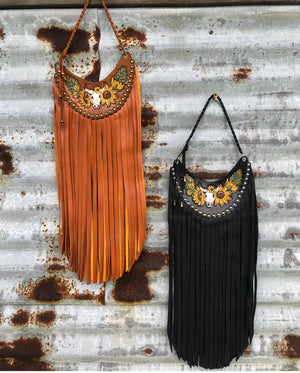 Lil Bee's Bohemian Tooled Leather Fringe Bib Collar Necklaces