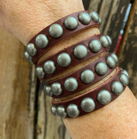 Studded Leather Stacker Snap Cuff Bracelet