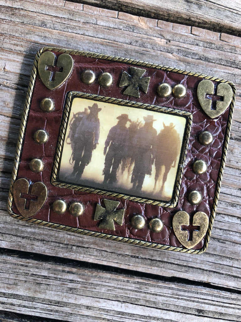 """Ole Ranch Hand"" Leather Studded Cowgirl Belt Buckle"