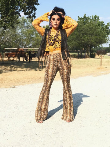 """Snake Yo Booty"" Golden Brown Snakeskin Print Bell Bottom Pants"