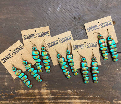 Sookie Sookie Stacked Cluster Earrings ~ Turquoise