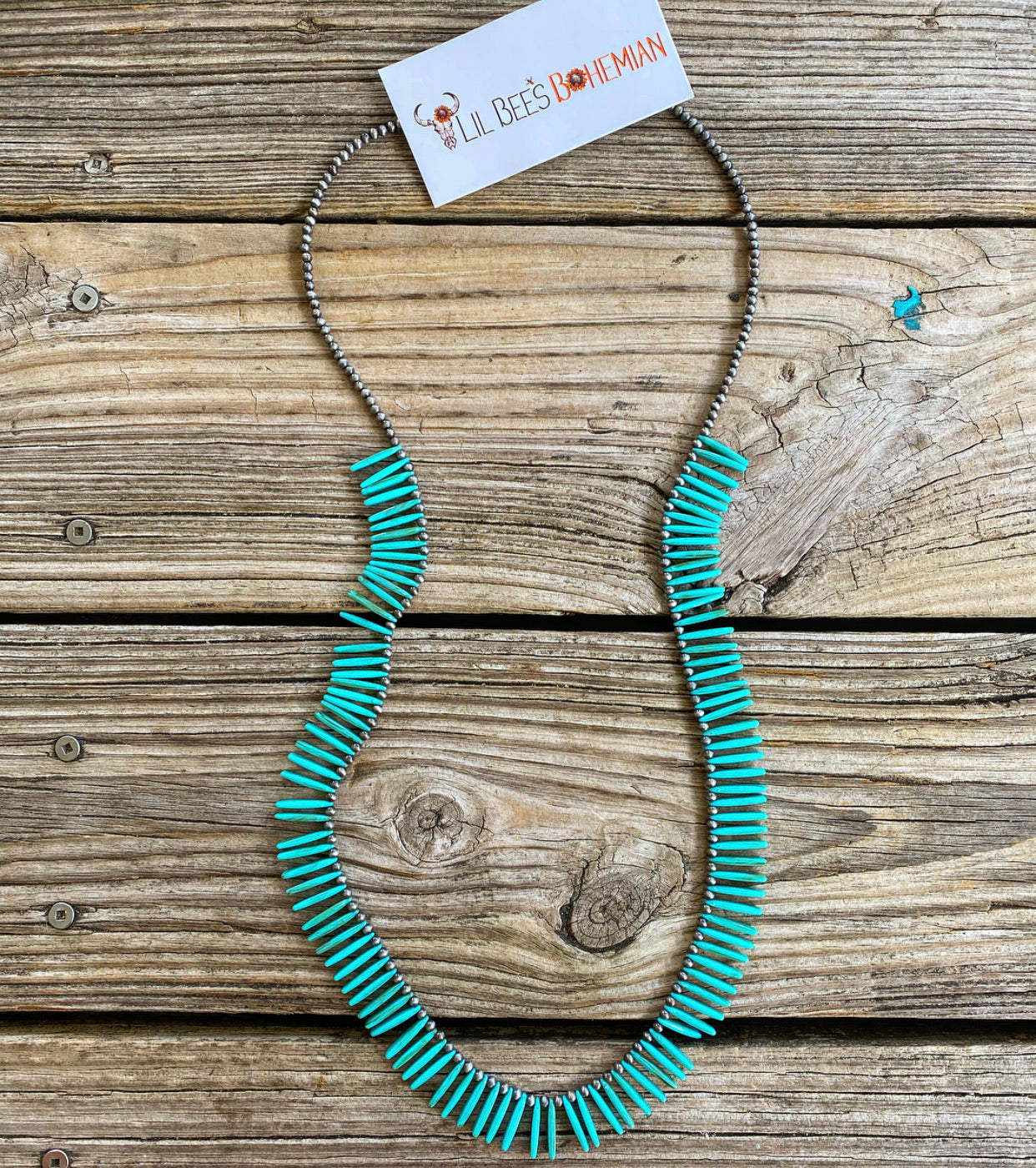 """Ole Fan Gurl"" Spike Turquoise Stone & Navajo Pearl Layering Necklace"