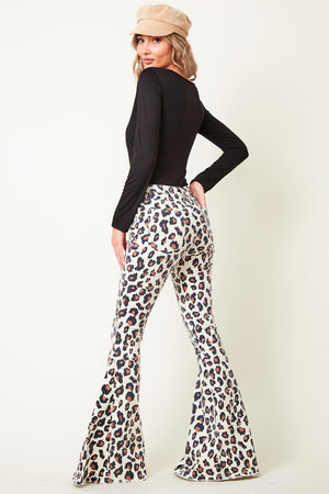 """Ole Spring Kitten"" Leopard Print White Denim Bell Bottoms"