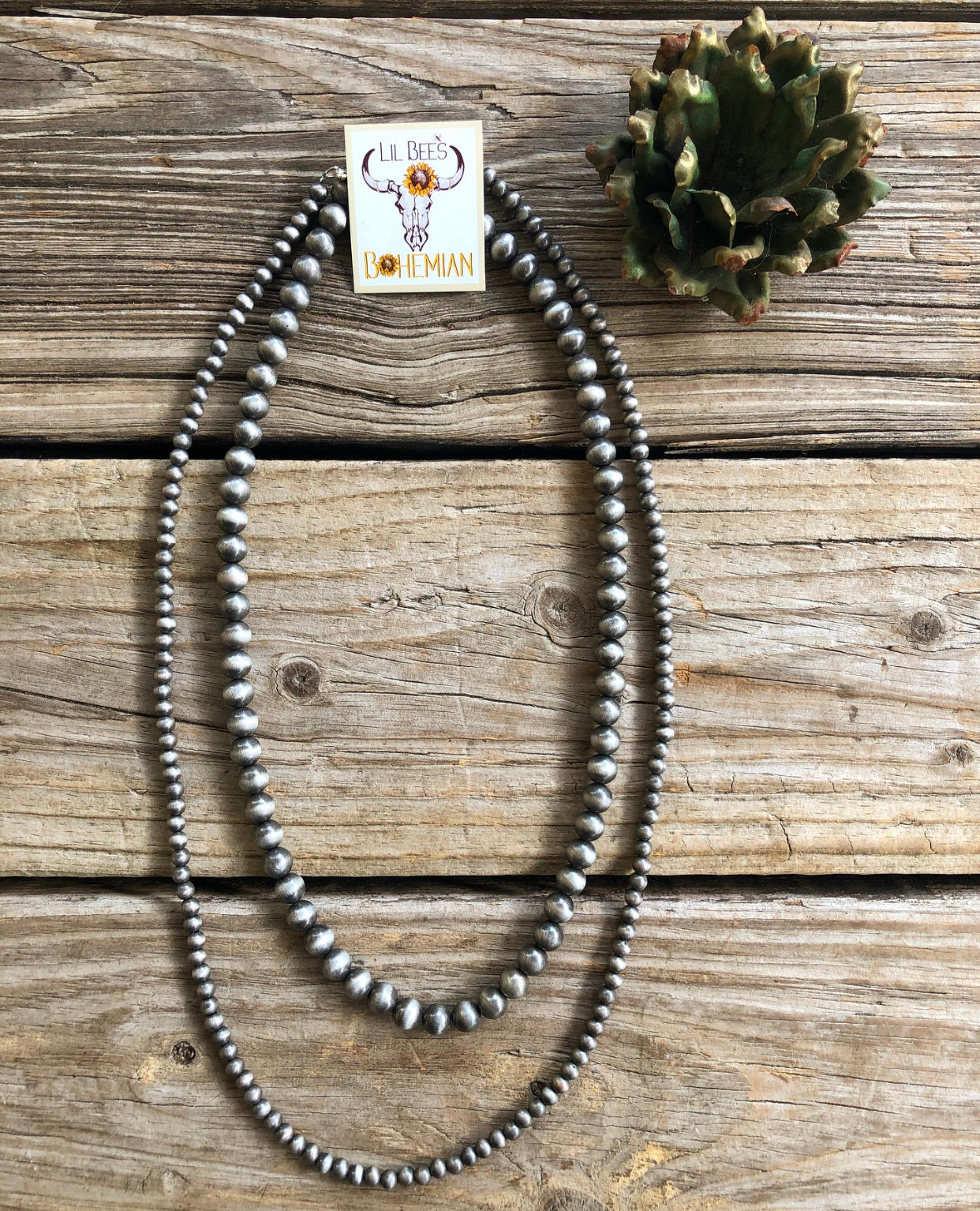 Navajo Pearl Double Strand Layering Necklace 6 & 10mm