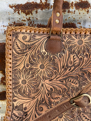 """Ole Business Casual"" Floral Design Tooled Leather Briefcase Tote Bag"