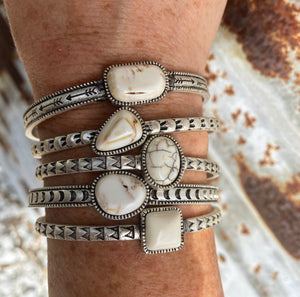 """Ole Benchmark"" White Buffalo Stone Etched Silver Stacking Cuff Bracelets"