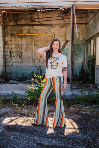 """Ole Amarillo Sunset"" Earthy Tone Serape Stripe Bell Bottoms"