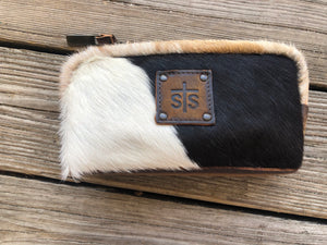"""Ole Cattle Call' ~ sTs Ranchwear Leather & Cowhide Cosmetic Bags"