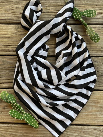 Limited Edition Black & White Stripe Buck Wild Rag ~ 36 Inch