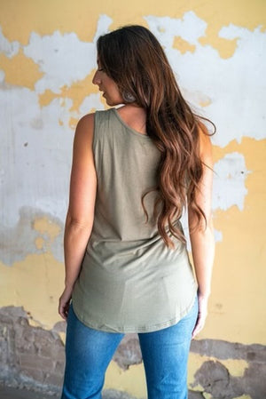 """Ole Basic Betty"" Light Olive Green  Basic Tank Top"