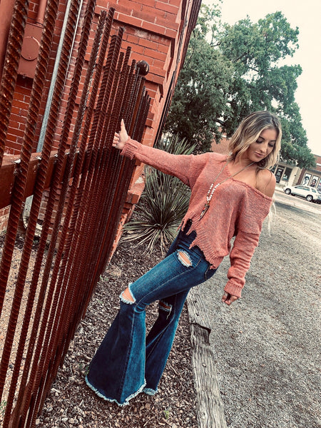 """Ole High Cotton"" Distressed Denim Bell Bottom Flare Jeans ~ Dark Denim Wash"