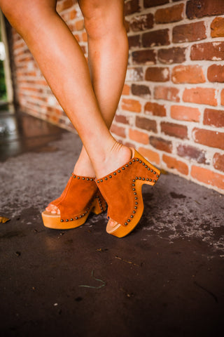 """Ole Peace & Love"" Suede Leather Studded Platform Clogs ~ PREORDER 8/14"